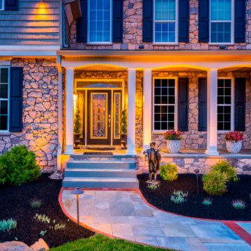 Landscaped front yard of a Delaware home